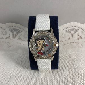 Hurst Accessories - Betty Boop Kisses Watch with White Leather Strap
